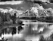 Tetons In Black And White Print by Dan Sproul
