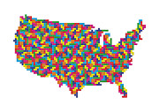 Tetris Video Game Posters - Tetris USA Map Poster by Stephen Gowland