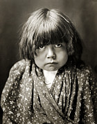 Edward Curtis Framed Prints - Tewa Indian Child Framed Print by The  Vault