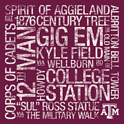 Old Main Posters - Texas AM College Colors Subway Art Poster by Replay Photos