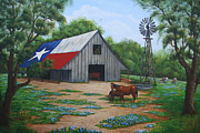 Steer Paintings - Texas Barn by Jimmie Bartlett