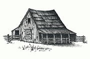 Barn Drawings Posters - Texas Barn Poster by Walt Foegelle