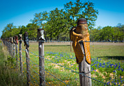 Inge Johnsson Framed Prints - Texas Boot Fence Framed Print by Inge Johnsson
