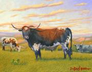 Longhorn Artist Framed Prints - Texas Bred Framed Print by Howard Dubois