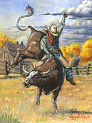 Pine Trees Painting Metal Prints - Texas Bull Rider Metal Print by Jeff Brimley