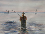 Wade Fishing Prints - Texas Coastal Fishing Print by David Camacho