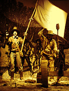 Sepia Drawings Prints - Texas Fighting Men Print by Linda Phelps
