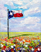 Melissa Torres Posters - Texas Flag and Wildflowers Poster by Melissa Torres