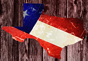 Dallas Digital Art Metal Prints - Texas Flag Map Metal Print by Bill Cannon