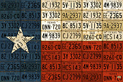 Austin Mixed Media Prints - Texas Flag The Lone Star State License Plate Art Print by Design Turnpike