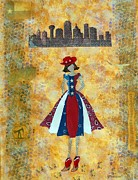 Dallas Mixed Media Prints - Texas Girl Print by Julie  Mortillaro