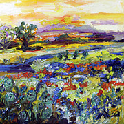 Sunsets Paintings - Texas hill Country Bluebonnets and Indian Paintbrush Sunset Landscape by Ginette Callaway