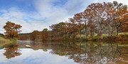 Photos Of Autumn Framed Prints - Texas Hill Country Images - Pedernales Falls State Park Panorama Framed Print by Rob Greebon