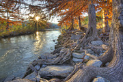Photos Of Autumn Prints - Texas Hill Country Images - Pedernales Falls State Park Sunrise  Print by Rob Greebon