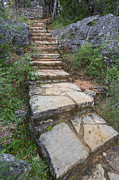 Photos Of Autumn Prints - Texas Hill Country Images - Stairs at Pedernales Falls State Par Print by Rob Greebon