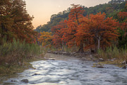 Photos Of Autumn Prints - Texas Hill Country Images - The Pedernales River in Autumn Moonr Print by Rob Greebon