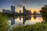 Austin 360 Posters - Texas Images - Austin Skyline at Sunrise from Zilker Park Poster by Rob Greebon