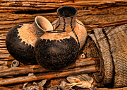 Texas Indian Potterry Jars And Artifacts Print by Linda Phelps