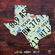Universities Mixed Media Metal Prints - Texas License Plate Map The Lone Star State on Fruitwood Metal Print by Design Turnpike