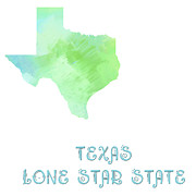 Texas Mixed Media Prints - Texas - Lone Star State - Map - State Phrase - Geology Print by Andee Photography
