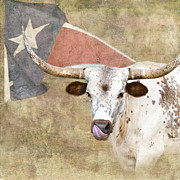 Animal Flag Art Framed Prints - Texas Longhorn # 2 Framed Print by Betty LaRue
