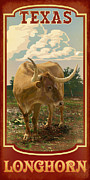 Longhorn Digital Art Posters - Texas Longhorn Poster by Jim Sanders