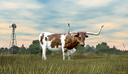 Waterpump Posters - Texas Longhorn  Poster by Walter Colvin