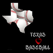 Abstract Map Posters - Texas Loves Baseball Poster by Andee Photography