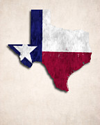 United States Map Digital Art - Texas Map Art with Flag Design by World Art Prints And Designs
