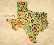 Texas Mixed Media Prints - Texas Map Crystalized Counties on Worn Canvas by Design Turnpike Print by Design Turnpike