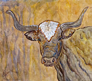 Steer Paintings - Texas O Texas Longhorn by Ella Kaye