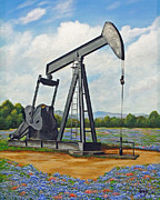 Oil Pumper Posters - Texas Oil Well Poster by Jimmie Bartlett
