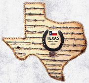 Texas Longhorns Digital Art Posters - Texas Old-west Barbed Wire Poster by Daniel Hagerman