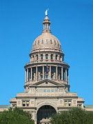 Austin Landmarks Posters - Texas State Capitol With Six Flags Poster by Connie Fox