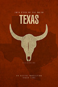 Texas Mixed Media Prints - Texas State Facts Minimalist Movie Poster Art  Print by Design Turnpike