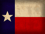 Texas State Flag Lone Star State Art On Worn Canvas Print by Design Turnpike