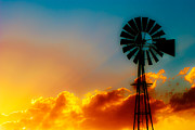 Windmill Posters - Texas Sunrise Poster by Darryl Dalton