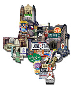 Photomontage Digital Art - Texas - Texas Shaped Photomontage by Carl Crum