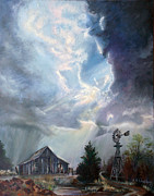 Thunder Paintings - Texas Thunderstorm by Karen Kennedy Chatham