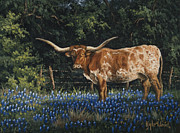 Longhorn Posters - Texas Traditions Poster by Kyle Wood