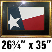 Usa Flag Mixed Media Originals - Texas TX Flag Art made of textured cut paper by Laurie Trowell