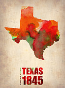 Watercolor  Posters - Texas Watercolor Map Poster by Irina  March