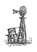 Texas Drawings - Texas Windmill and Cistern by Walt Foegelle