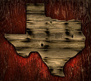 Wood Grain Posters - Texas Wood Poster by Darryl Dalton