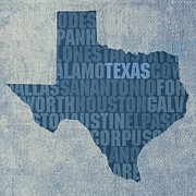 Texas Mixed Media Prints - Texas Word Art State Map on Canvas Print by Design Turnpike