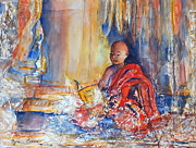Buddhist Monk Paintings - Text and Texture by Myra Evans