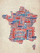 Typographic  Digital Art - Text Map of France Map by Michael Tompsett