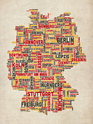 Featured Art - Text Map of Germany Map by Michael Tompsett