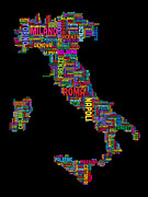 Typography Map Digital Art - Text Map of Italy Map by Michael Tompsett