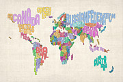 Cartography Digital Art Prints - Text Map of the World Map Print by Michael Tompsett